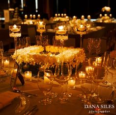 Eye-Catching Centerpieces - Low centerpieces so the table can converse.