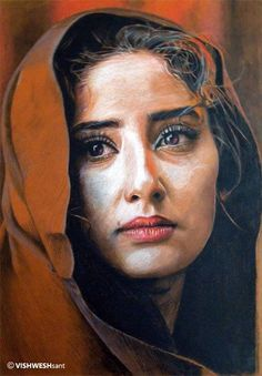 Painting done with color pencils on orange tinted paper. Artist: Vishw