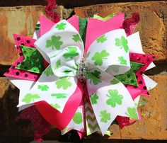 Are you needing a St. Patrick's Day bow for your little girl!  I've got them!!!  I can send them to you in time for them to wear for the big GREEN St. Paddy's Day!!!!!   St Patrick's Over the Top Hair Bow babies by BellaKumariBows, $12.00