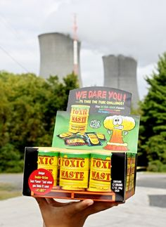 Toxic waste candy that is super sour placed in a toy container in the shape of a nuclear waste drum. Toxic Waste Candy, Toy Containers, Candy Nation, Sour Candy, Hard Candy, Watermelon, Action Figures, Raspberry, Things To Think About
