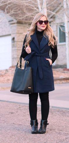 navy blue sleeveless coat