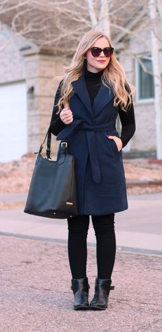 navy blue sleeveless coat
