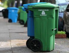 Lixeira para compostáveis e recicláveis em São Francisco, Califórnia, nos Estados Unidos (Foto: Justin Sullivan/Getty Images)
