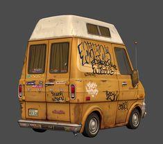 Ford Econoline by Mike Ho on ArtStation. Car Illustration, Illustrations, Ford Transit Camper, Casual Art, Bttf, Custom Vans, Car Humor, Motorhome, Concept Cars