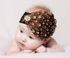 Flapper Girl - a Vintage Inspired Brown Feather Pad Headband for Newborn Baby Girls or women with Swarovski Crystal Rhinestone - Photo Prop. $17.95, via Etsy.