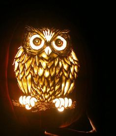 My Owl Barn: Happy Halloween! Owl Pumpkin Carving, Amazing Pumpkin Carving, Pumpkin Carving Patterns, Pumpkin Art, Creepy Pumpkin, Halloween Pumpkins, Fall Halloween, Happy Halloween, Halloween Decorations