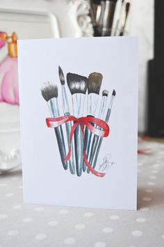Fashion Card Fashion by DorinusIllustrations on Etsy  #makeup #brushes #stationery