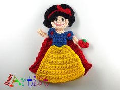"Snow White Crochet Applique ~ measures 4""H ~ THIS IS A FINISHED PRODUCT to purchase"