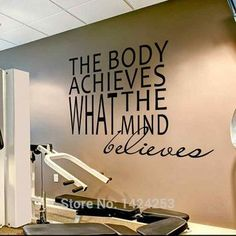 BATTOO Gym Motivation Wall Decal Stickes The Body Achieves what the mind believes Wall Decal - Exercise Room Decal Poster