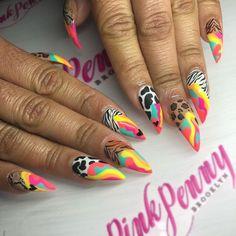 Funky Nails, Neon Nails, Dope Nails, Swag Nails, Gorgeous Nails, Pretty Nails, Holloween Nails, Exotic Nails, Nail Polish Art
