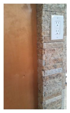 Light blend thin veneer. Corner detail. Made from EcoGranite 100% recycled stone products in Farmington Hills MI.