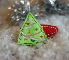 In The Hoop Christmas Tree Barrette Cover Machine Embroidery