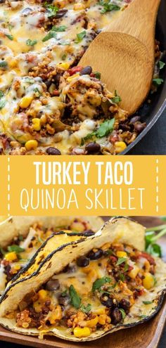 This light and healthy dinner will be a family favorite! Turkey Taco Quinoa Skillet is a recipe made with ground turkey quinoa black beans corn tomatoes and Mexican spices. A flavorful one-pan dish ready in minutes. Pin this quick and easy healthy meal! Healthy Turkey Recipes, Lunch Recipes, Healthy Dinner Recipes, Healthy Mexican Recipes, Health Recipes, Healthy Meals, Ground Turkey Dinners, Ground Turkey Tacos, Healthy Ground Turkey Dinner