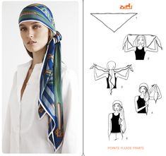 Learn how to wear your Hermes Scarf in different ways. Hermès Scarf Around Your Neck, as a Belt, Clothing Accessory, Handbag and more. Explore how to Tie a Hermes Scarf in stylish ways! Hair Wrap Scarf, Hair Scarf Styles, Hat Styles, Turban Mode, Scarf Knots, Paris Mode, Turban Style, Style Hair, How To Wear Scarves
