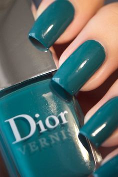 """Polishes I Own Dior """"Nirvana"""" - Rich teal with the tiniest bit of silver shimmer. Also looks amazing with Dior's """"Rock Coat"""" layered over it. Hair And Nails, My Nails, Dior Nail Polish, Aqua Nails, Wedding Nails Design, Nail Polish Collection, Creative Makeup, Nirvana, Nail Care"""