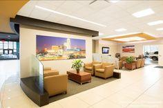 Performance CJDR Car Dealership (Bellevue, Nebraska) Monterrey lounge seating with Myriad tables in lobby/reception area.  #NationalOffice #FurnitureWithPersonality