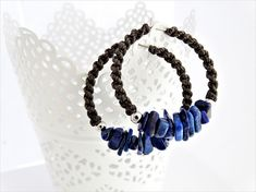 .: Characterisctics:. Hoops are made of surgical steel , wrapped 0.9 brown nylon cord and 5-8mm Lapis Lazuli stones. Diameter of these hoops included wrapped nylon cord are 3.7 cm, Hoops lenght with stones: around 4 cm. Shape and composition of stones randomly selected. May differ