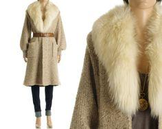 Vintage 80s Sweater Coat - Beige Chunky Knit Fox Fur Maxi Boho Jacket - S / M / L. $228.00, via Etsy.