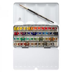 This set contains 48 pans of Rembrandt Watercolors, including one each of the following colors: 207 Cadmium Yellow Lemon 208 Cadmium Yellow Light 210 Cadmium Yellow Deep 211 Cadmium Orange 238 Gamboge 303 Cadmium Red Light 311 Vermillion 108 Chinese White 227 Yellow Ochre 234 Raw Sienna 242 Aureoline 265 Transparent Oxide Yellow 306 Cadmium Red Deep 314 Cadmium Red Medium 318 Carmine 336 Permanent Madder Lake 339 Light Oxide Red 366 Quinacridone Rose 378 Transparent Oxide Red 403 Vandyke…