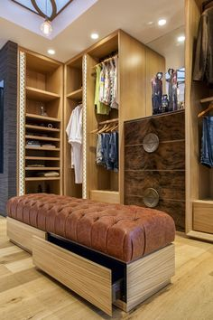 Luxury Queensland Home – Luxury Walk In Robe, Wardrobe and Leather Ottoman. Designer is Mark Gacesa of Ultraspace. Interiors by Minka Joinery http://www.minkajoinery.com.au