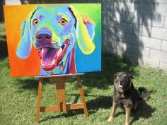 DawgArt is a style of painting employing arbitrary color to bring out the colorful personalities of our animal companions. Adopt some DawgArt and