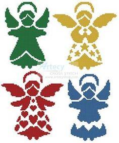 Angel Silhouettes Cross Stitch Pattern
