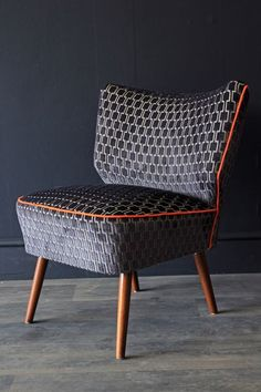 Upcycled Vintage 1950s Bartolomew Cocktail Chair - Charcoal Grey Underground Velvet £625.00 Rockett st george