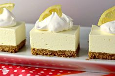 """No Bake Lemon Cheesecake Squares is a great dessert for this time of year! The tart lemon no-bake """"cheesecake"""" filling sitting atop a traditional graham cracker crust will have your mouth singing and…MoreMore Mini Desserts, Brownie Desserts, Lemon Desserts, Lemon Recipes, No Bake Desserts, Easy Desserts, Baking Recipes, Delicious Desserts, Dessert Recipes"""