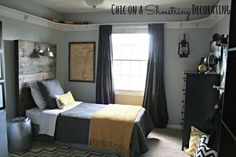 Boys Bedroom, : Modern Grey Boy Teenage Bedroom Decoration Design Ideas Using Light Grey Boy Room Wall Paint Including Grey Kid Bedroom Curtain And White Light Grey Bed Valance