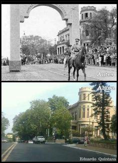 Antes y Ahora en el Arco de la Victoria frente al actual Ministerio de Defensa
