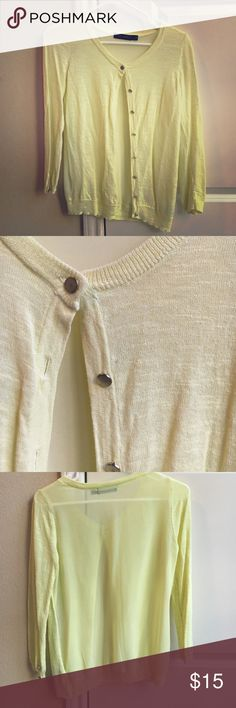 Pale Yellow Sweater Cute and light sweater with a shear back! Only worn twice! It's not my color! The Limited Sweaters Cardigans