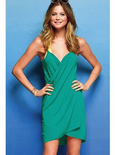 Emerald Green Open Back Cover-up Dress
