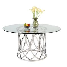 Shop for Somette Colette 54-inch Round Stainless Steel Dining Table. Get free shipping at Overstock.com - Your Online Furniture Outlet Store! Get 5% in rewards with Club O! - 16940236
