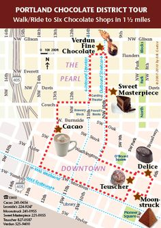 Portland Chocolate map 6 chocolate shops in 1.5 mi downtown