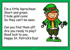 Patrick's Day Leprechaun Song and Gold Hunt Activity by Kathy Griffin patricks day preschool St. Patrick's Day Leprechaun Song and Gold Hunt Activity St Patricks Day Songs, St Patricks Day Crafts For Kids, St Patrick Day Activities, Spring Activities, Halloween Activities, Party Activities, March Crafts, Ideas, Ireland