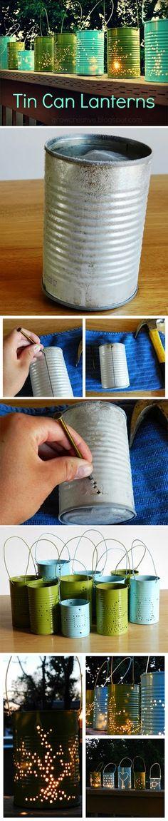 Tin Can Lanterns ~~~~~~~~~~~~~~~~~~~~~~~~~ 11 INNOVATIVE AND USEFUL TIN CAN DIY TUTORIALS
