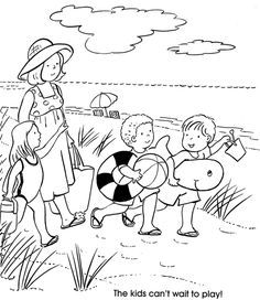 At the Beach @ Dover Publications Art Drawings For Kids, Drawing For Kids, Easy Drawings, Drawing S, Colouring Pages, Coloring Pages For Kids, Adult Coloring, Coloring Books, Summer Coloring Sheets