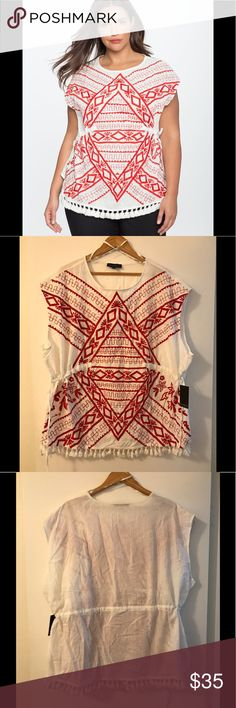 Eloquii Embroidered Fiesta Tunic Top Size 24 NWT Beautiful embroidered tunic top perfect for a fiesta or sunny day. Red thread embroidery. Adjustable drawstring waist with side ties. Brand new, never worn. Size 24. Eloquii Tops Tunics