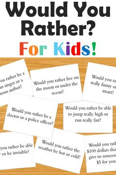This digital download includes over 100 Would You Rather Questions for Kids. These printable cards include silly questions as well as hard questions about life that invite critical thinking in children. They're perfect for families to use on road trips or as fun conversation starters for dinnertime. Teachers will also find them useful as ice breakers in the classroom or for students to use as brain breaks or writing prompts. Simply print the cards on heavy paper, cut, and play! Free Activities For Kids, Classroom Activities, Learning Activities, Kids Learning, Writing Games For Kids, Indoor Activities Kids, Fun Printables For Kids, Art Games For Kids, Games To Play With Kids