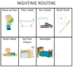 Printable Morning and Nightime Routine Charts for Kids