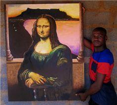Patric Maseko - See Maseko's work @ Laubar ART - Brooklyn Bridge - Phone 763108800 Brooklyn Bridge, Mona Lisa, Pretoria, Cape Town, Artwork, Artist, Painting, Oil, Studio