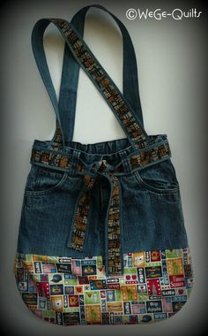 Best Pictures Bag sewn from old jeans and combined with new fabric. Tips I enjoy Jeans ! And much more I want to sew my own, personal Jeans. Next Jeans Sew Along I am like Patchwork Bags, Quilted Bag, Mochila Jeans, Sacs Tote Bags, Tote Purse, Blue Jean Purses, Diy Sac, Denim Handbags, Denim Purse