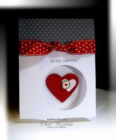 Use your circle punch to create this peeking-heart card.  The textured heart and button are placed on the inside of the card directly under the open punch.  Add a red dotted bow to the front.  DIY Valentines card