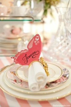 Pretty Butterfly Place Card on Napkin Ring - perfect for a hen party lunch. Shabby Chic collection by Abby Larson Butterfly Place, Butterfly Table, Pink Butterfly, Butterflies, Wedding Blog, Our Wedding, Garden Wedding, Spring Wedding, Wedding Ideas