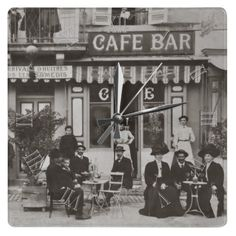 Vintage French cafe bar street scene sepia photo with numbers acrylic wall clock. $24.95
