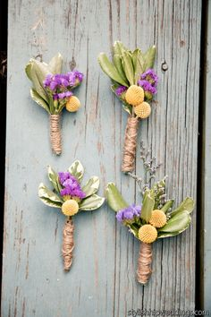 Rustic Billy Ball Boutonnieres Wrapped in Twine  Photographed by @stylish hip weddings  BloomsByTheBox.com