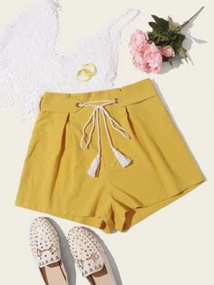((Affiliate Link)) Description Style:	Boho Color:	Yellow Details:	Belted, Fringe, Tie Front Type:	Wide Leg Season:	Summer Composition:	100% Cotton Material:	Cotton Fabric:	Non-stretch Sheer:	No Fit Type:	Regular Waist Type:	High Waist Belt:	Yes