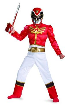 disguise  Power  Ranger  megaforce  red  Ranger  boys  muscle  costume  10  12