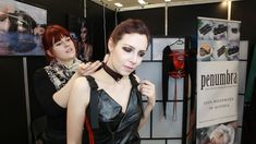 Celene Nox visited me to try one of my collars at obscene fair in Stuttgart - she'd been working on a fair report for her YouTube channel. Behind The Scenes, Collars, Halloween Face Makeup, Channel, Youtube, Stuttgart, Necklaces, Youtubers, Shirt Collars