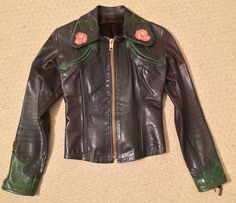 Collectable East West Musical Instrument Co Leather Jacket 1970's. S/M Woman